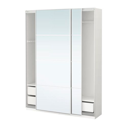 IKEA - PAX, Wardrobe, 150x44x201 cm, soft closing damper, , 10-year Limited Warranty. Read about the terms in the Limited Warranty brochure.You can easily adapt this ready-made PAX/KOMPLEMENT combination to suit your needs and taste using the PAX planning tool.Perfect where space is limited since the frame is narrow.Sliding doors allow more room for furniture because they don't take any space to open.The soft-closing device catches the running doors so that they close slowly, silently and…