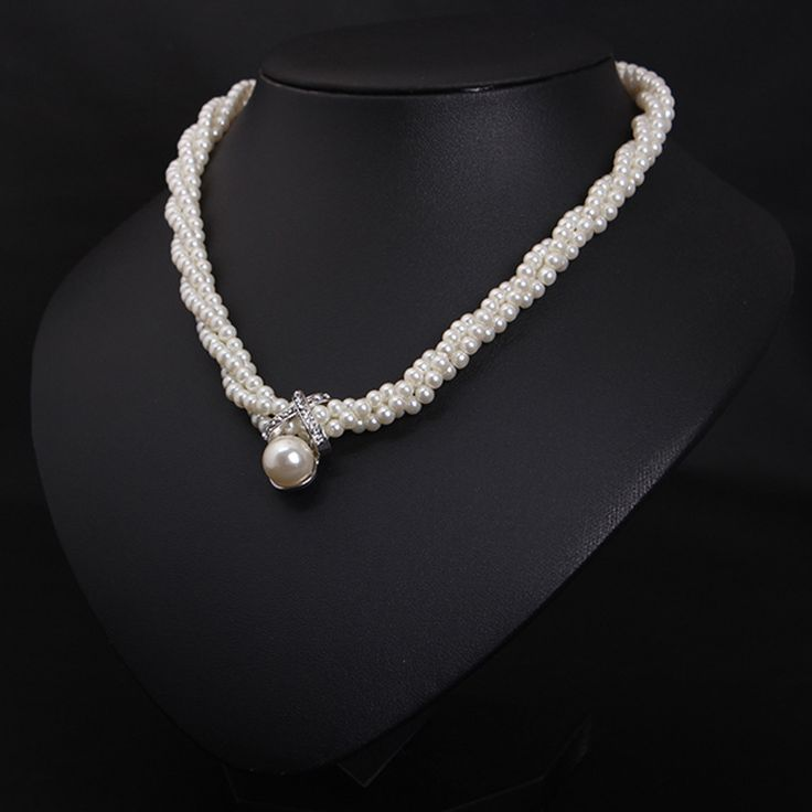 Korean Women Simulated pearl necklace clavicle short braided fashion jewelry  women collar necklace 4127