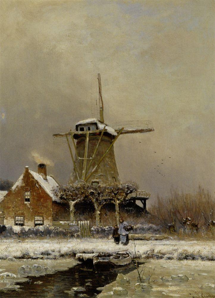 Louis Apol - Windmolen in de sneeuw