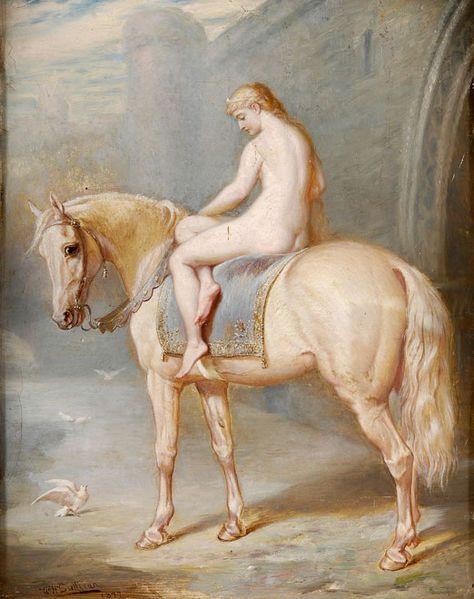 Edmund Joseph Sullivan, Lady Godiva, 1877. This takes riding bare back to a whole new level of awkward