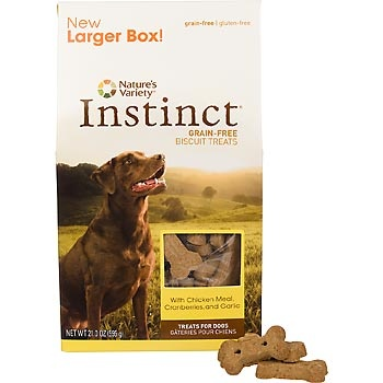 Nature's Variety Instinct Grain-Free Crunchy Dog Biscuits.  Perfect for dogs with grain allergies.  Available at Petco.
