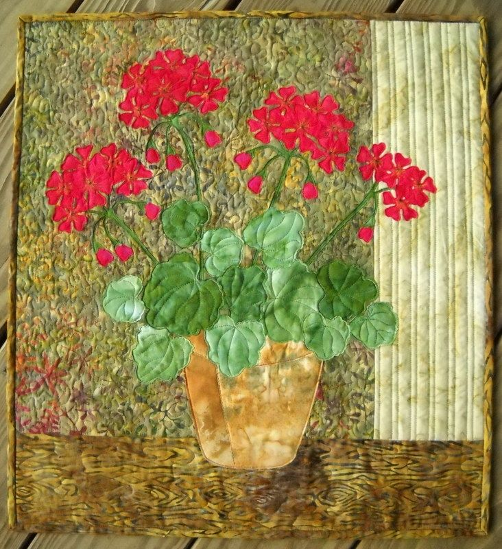 geraniums quilted wall hanging
