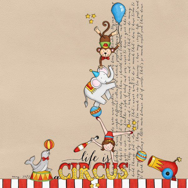 Big Top circus collection | digital scrapbook layout from Kate Hadfield Designs creative team member Denise
