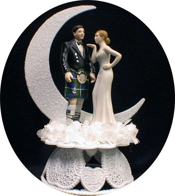 SCOTTISH Groom Kilt, Sporran, Pretty bride Wedding Cake Topper Top ornament Scott Scotties