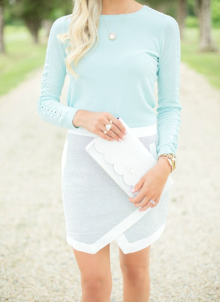 Mint blue sweater // white eyelet leather Kate Spade clutch