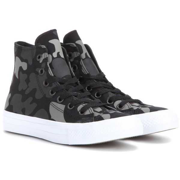 Converse Chuck Taylor All Star II High-Top Sneakers (170 BGN) ❤ liked on Polyvore featuring shoes, sneakers, black, black hi tops, high top shoes, converse shoes, converse high tops and black high top sneakers