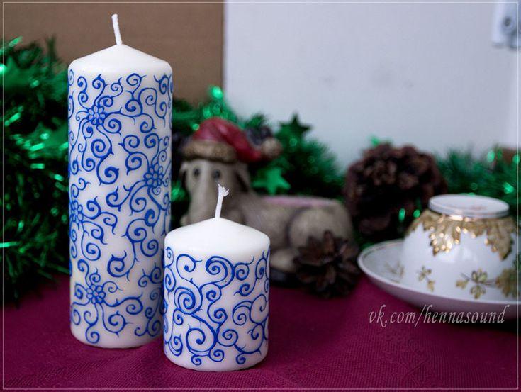 Расписанные контурами свечи от Henna Sound