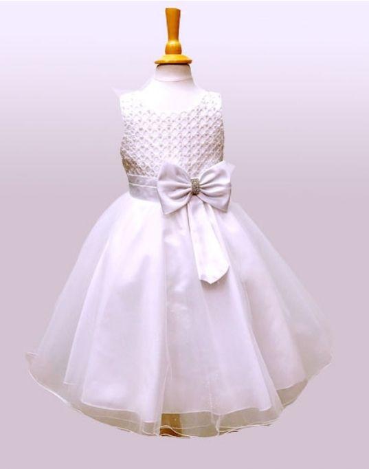 """Παιδικό Φόρεμα σε Λευκό για Παρανυφάκι, Πάρτυ, Βάπτιση """"Anjelina"""" - memoirs.gr"""