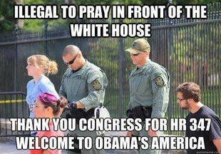 But ok to pray in AND outside of the White House.... IF you're a muslim...