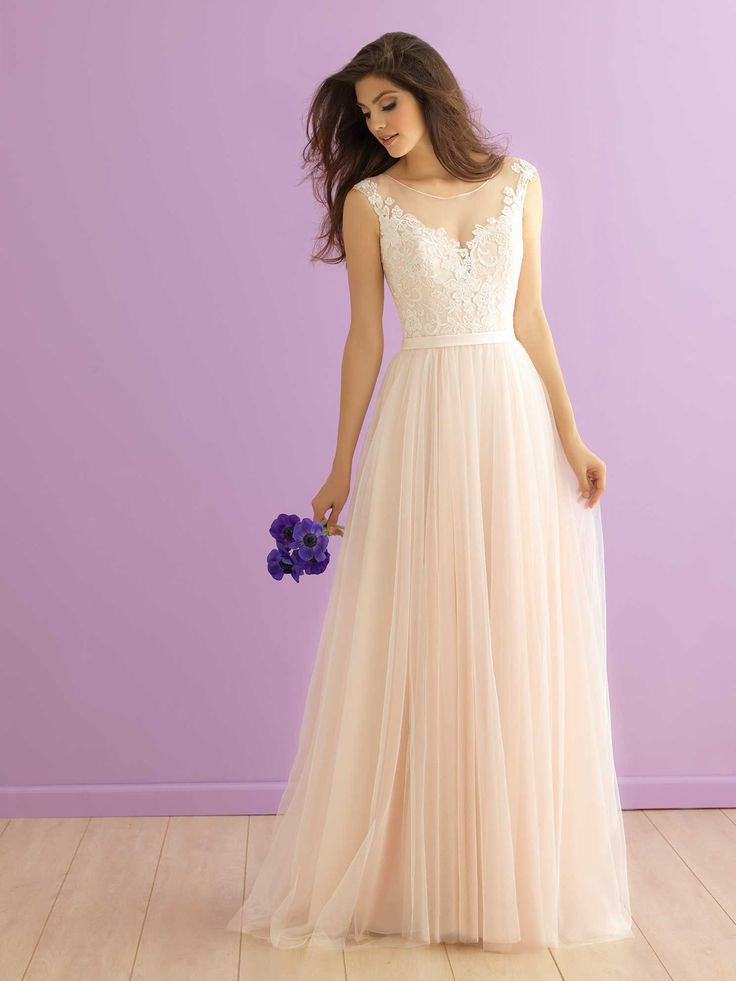 Allure Bridals style 2900 from the 2016 Romance Collection. A pink and ivory tulle and lace wedding dress.