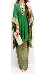 Picture of 2 Pieces Sequin Design Songket Printed Batwing Top with Pleated Skirt