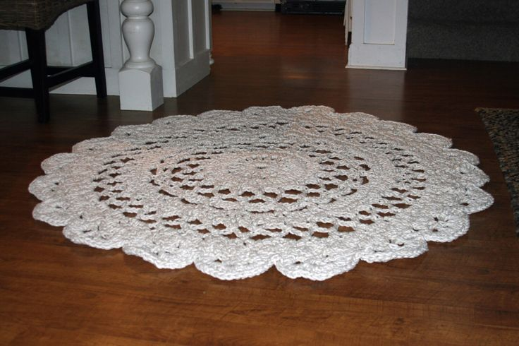 Large Round Crochet Rug, Off-White Doily Rug, Shabby Chic Area Rug, Nursery Throw Rug by BlackbirdFlyCompany on Etsy https://www.etsy.com/au/listing/169917557/large-round-crochet-rug-off-white-doily
