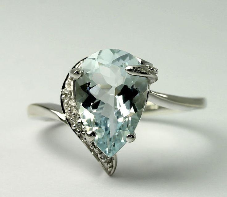 Natural #Diamond & Pear Aquamarine 10k White #Gold Offset Band Ring Size 6.75 #Jewelry #Fashion http://www.ebay.com/itm/-/401270088316?roken=cUgayN&soutkn=Ow5wUm via @eBay