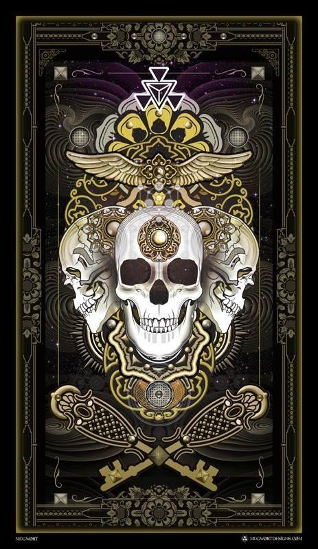 Art deco skull. Tarot.