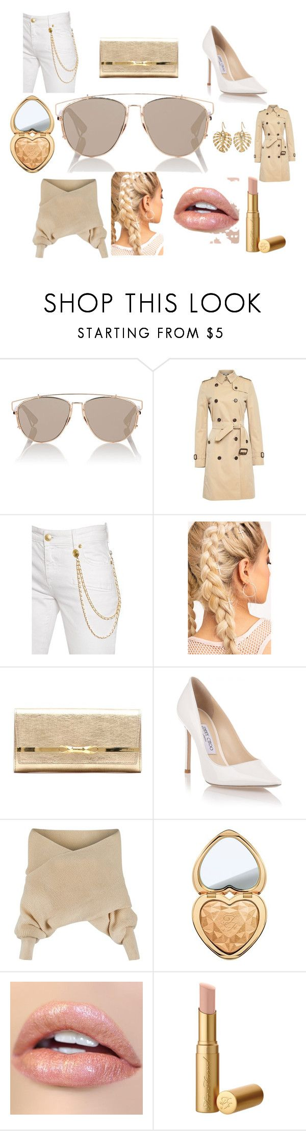 """HEAD OF HOLLYWOOD"" by marguerite-dillworth on Polyvore featuring Christian Dior, Burberry, Pierre Balmain, Jimmy Choo, WithChic, Too Faced Cosmetics and The Sak"