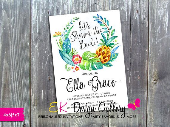 99 best birthday invitations images on pinterest birthday bridal shower invitation tropical wreath invitation wedding filmwisefo Images