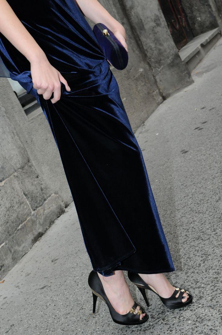 vintage velvet evening dress