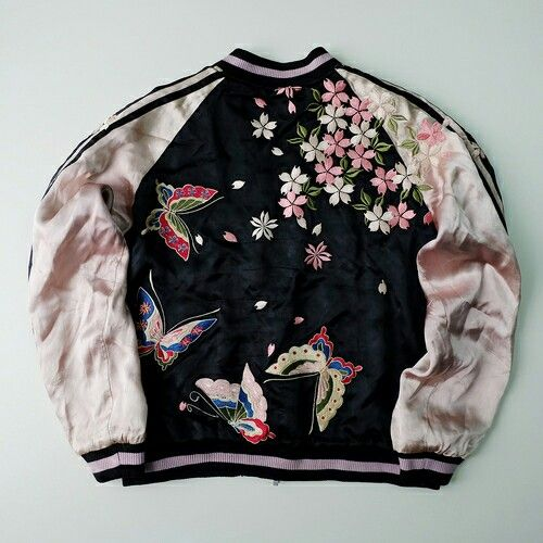 Vintage Japanese Embroidered Bomber Sukajan Reversible Souvenir Jacket