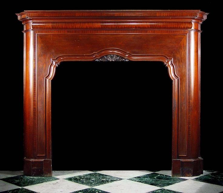 Antique Mahogany Art Deco Fireplace Mantel Art Deco