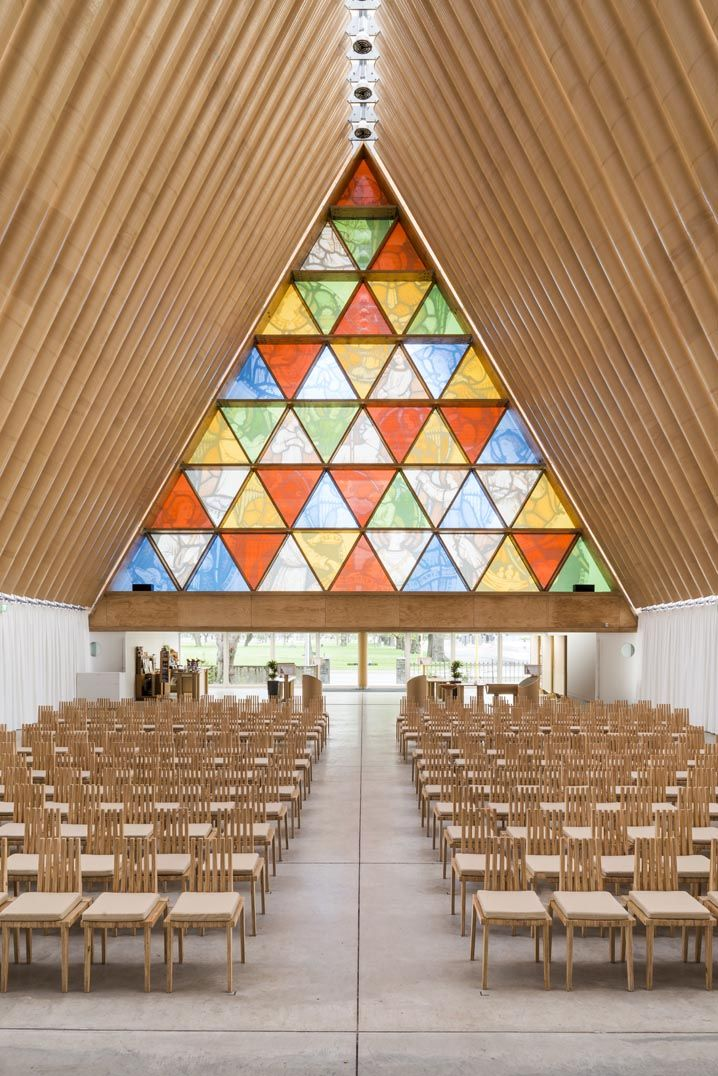 Cardboard Cathedral, Christchurch, New Zealand. new cathedral designed to withstand future earthquakes. What makes this structure remarkable is that it is not built out of regular construction materials, but largely out of cardboard.