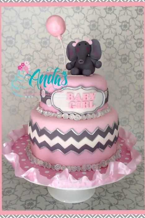chevron baby shower decorations | Pink & Gray Chevron and Elephants Baby Shower! - CakesDecor