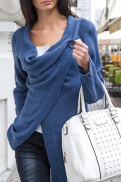 Casual Soft Knit Long Sleeve One-Button Wrap Cardigan OASAP.com