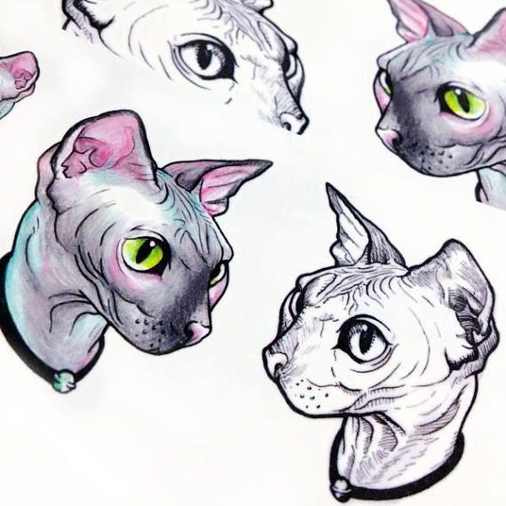 Hairless Cat Tattoo Stickers Sphynx Cat Tattoo Sphynx Tattoo Etsy Sphynx Cat Tattoo Cat Tattoo Cat Art