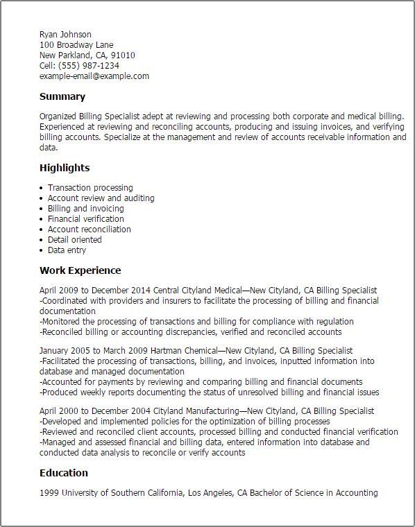 Resume Templates: Billing Specialist