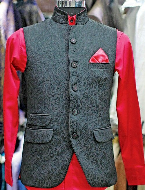Black Waistcoat with red detail
