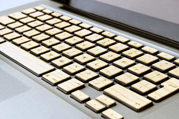 Real Wood Macbook Keyboard Decal for Apple Mac book Air Pro 13