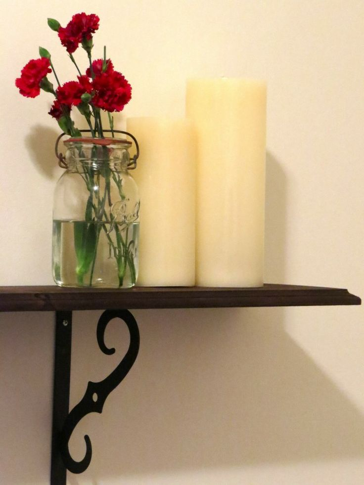 my diy decorative shelf how to hang shelf pretty brackets flame less battery candles http. Black Bedroom Furniture Sets. Home Design Ideas
