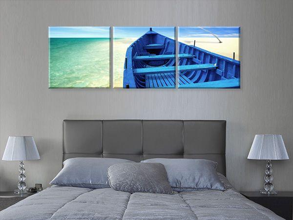Ξεχωριστή λύση διακόσμησης με Multipanel #digiwall από την κατηγορία ΦΥΣΗ : Μπλε σκάφος στην παραλία