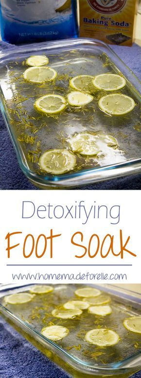 homemade foot soak for detox with rosemary and lemons