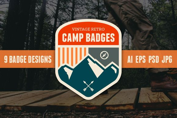 Check out Retro camp badges by Ember Studio on Creative Market