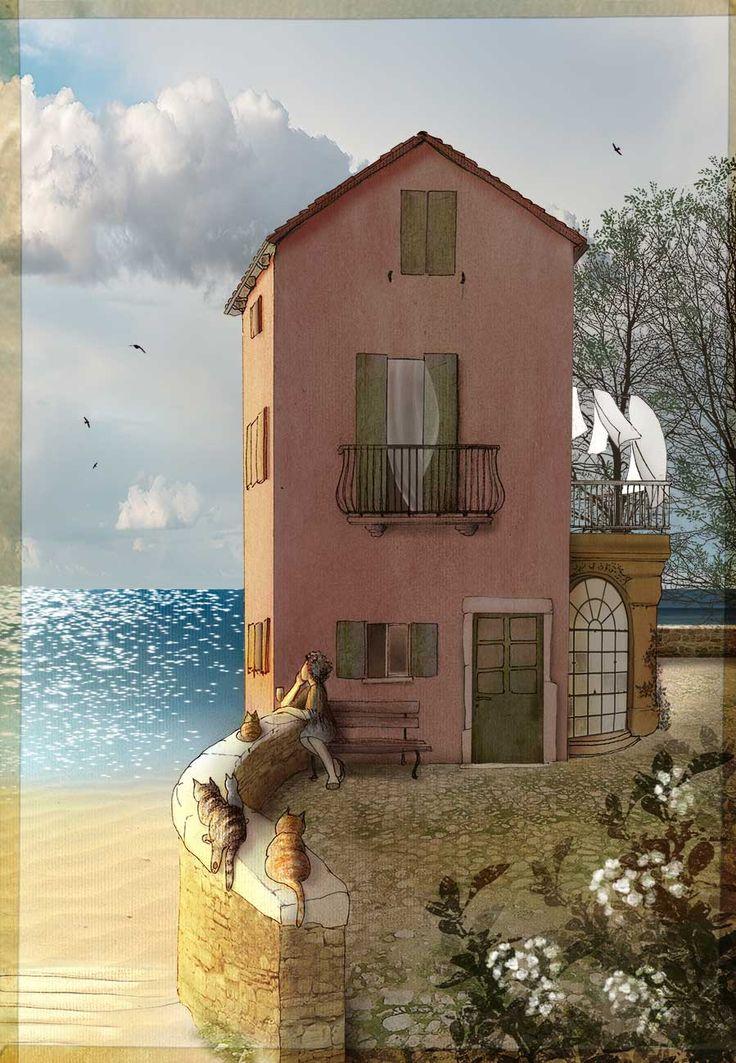 La maison de la mer. Pen + soft pastels + Photoshop. #illustration #art #poetry #graphics #drawing #mediterranean #spring #cats