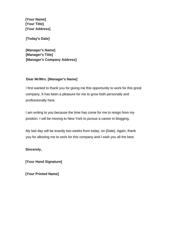 Two-Week Resignation Letter Samples Resignation Letter2 - best of leave letter format in doc