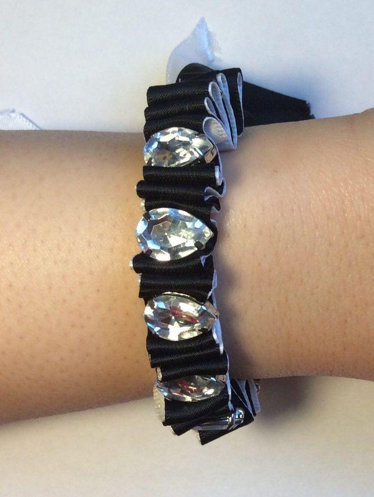 Flili Bracelet, Ribbon & artificial diamond, double ribbon,well disigned, unique, evening part, artificial diamond by PaisleyGI on Etsy