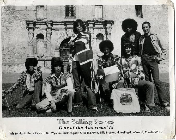 Rolling Stones in front of The Alamo in San Antonio, Texas 1975