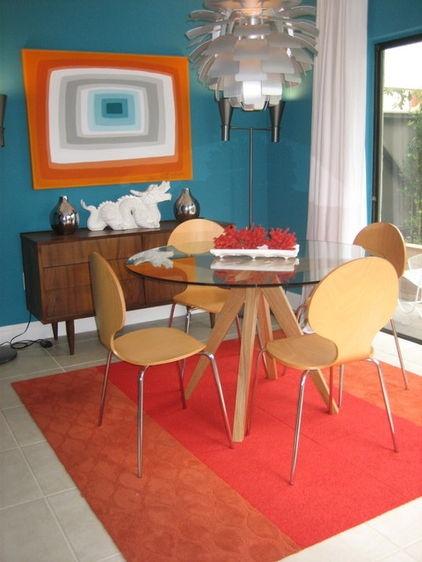 Modern Retro Dining Room Orange Teal