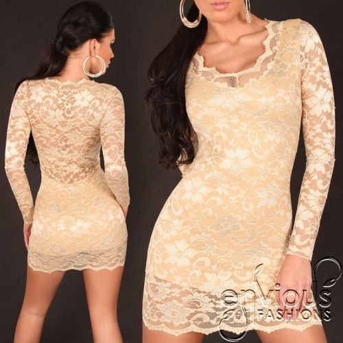 SHOW STOPPER | Chic and sophisticated #lace #minidress  Also available in nude beige $37.95