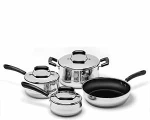 Looking for the perfect starter cookware set? This Basic Cookware 7piece set with Stainless Steel Non-stick fry pan; is made to last for years, so that even as you grow your cookware collection, you will keep coming back to these essential pieces. Contains the most useful and most often used pots in the kitchen.