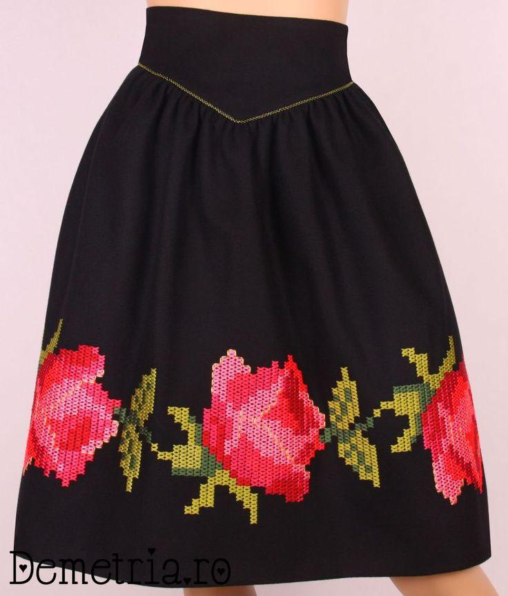 Black wool Demetria skirt