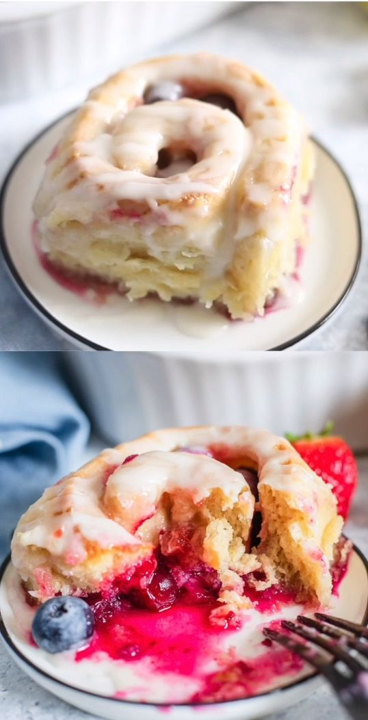 Lemon Berry Sweet Rolls – With a tender croissant dough, filled with berries, an…