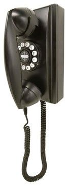 Retro Wall Phone in Black - eclectic - Home Electronics - ivgStores