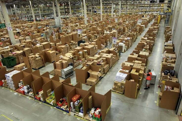As the world's largest online retailer, Amazon needs somewhere to put all of those products. The solution? Giant warehouses. Eighty to be exact. Strategically located near key shipping hubs around the world. The warehouses themselves are massive, with some over 1.2 million square feet in size (111,484 sq m). And at the heart of this global operation are people (over 65,000 of them), and a logistics system known as chaotic storage.