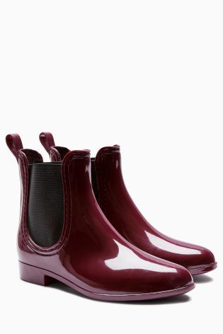 Berry Chelsea Style Wellington Boots