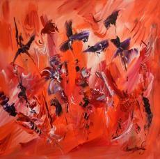Oiseaux du passé tableau 40 x 40 cm peint à la main par l'artiste peintre contemporain ame sauvage
