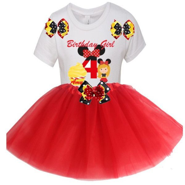 Red Tutu Birthday Party Outfit MINNIE Edition Set