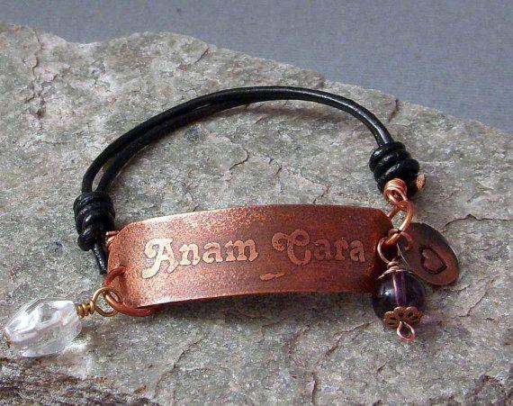 ANAM CARA Etched Copper & Leather Bracelet Name Word Friendship Spirit Yoga Personalized Custom Leather Inspirational Motivational Gift