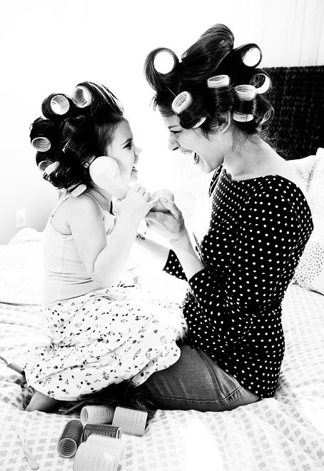 Love the mother daughter shots in curlers....Can I please do this with my mommie even though I'm older than a cute 4 year old?